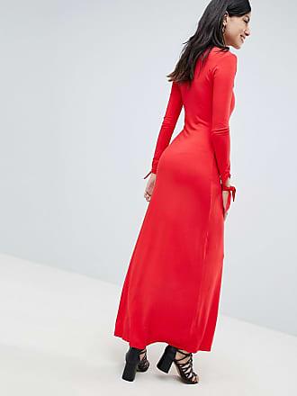 d0ec8cde9df Asos Tall ASOS DESIGN Tall maxi tea dress with self covered buttons - Red