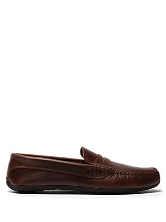 Quoddy Penny Driver Leather Loafers - Mens - Brown
