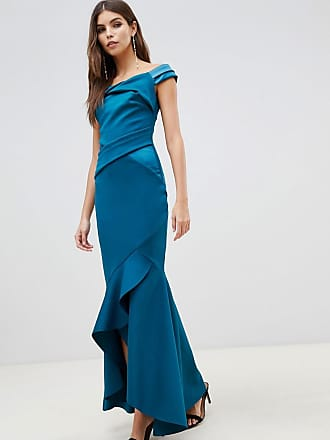 3a68adea Lipsy bardot satin maxi dress with asymmetric hem in teal