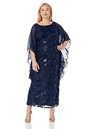 Brianna Womens All Over Sequin Gown with Capelt, Navy, 10