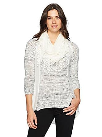 Oneworld Womens Plus Size 3/4 Sleeve Sweater with Attached Scarf, OW Ivory, 3X