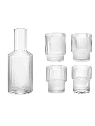 Ferm Living 4 Clear Ripple Glasses + 1 Carafe (2 colours) - grey - Grey/Grey