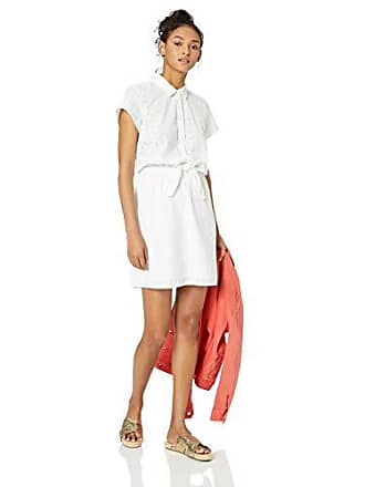 b8431d7ae J.crew Womens Short-Sleeve Eyelet Collared Tie Front Dress, White, XS