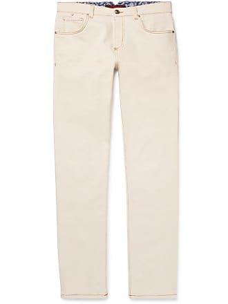 Isaia Slim-fit Selvedge Stretch-denim Jeans - Ecru