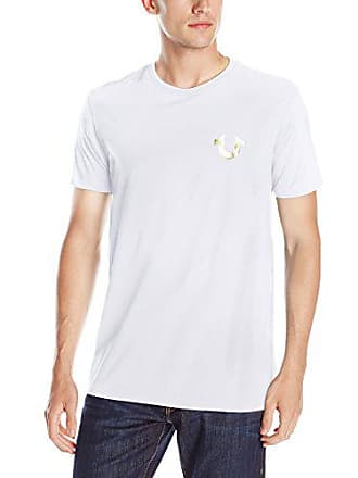 933842062 True Religion Mens Double Puff Short Sleeve T-Shirt, White, X-Large