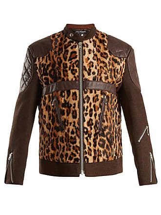 Junya Watanabe Leather Trimmed Leopard Print Faux Fur Jacket - Womens - Beige Multi