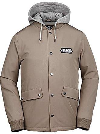 Volcom Mens Highstone Fleece Hooded Medium Weight Coach Jacket, Khaki, Large