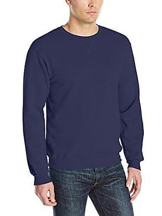 Fruit Of The Loom Mens Fleece Crew Sweatshirt, Navy, Medium