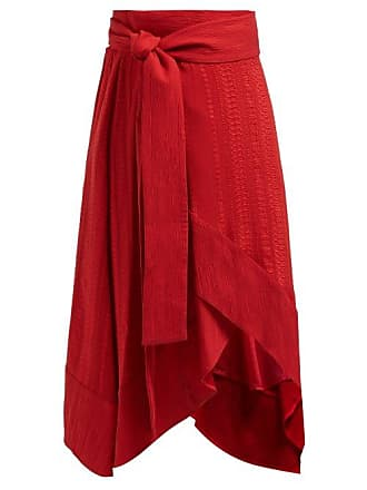 Zeus + Dione Muses Silk Blend Jacquard Wrap Midi Skirt - Womens - Red