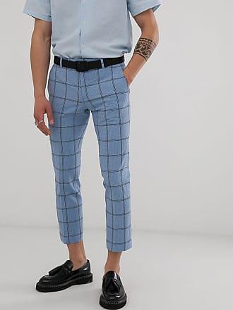 Twisted Tailor Pantaloni da abito cropped affusolati in seersucker a quadri-Blu