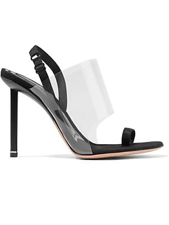 f2c779aa53 Alexander Wang Kaia Grosgrain-trimmed Suede And Pvc Slingback Sandals -  Black