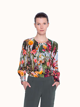 Akris SiIlk Blouse with Floral Print in A-line