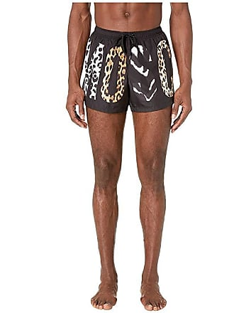 3e9db2a190 Moschino Patchwork Animalier Swim Shorts (Black Multi) Mens Swimwear