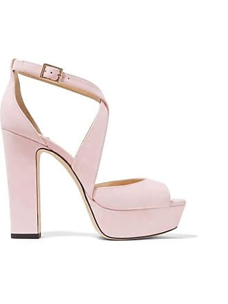 Jimmy Choo London April 120 Suede Platform Sandals - Pastel pink