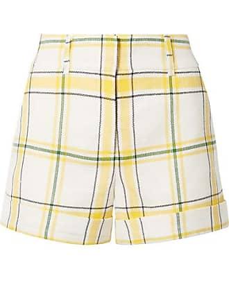 Veronica Beard Carito Checked Canvas Shorts - Yellow