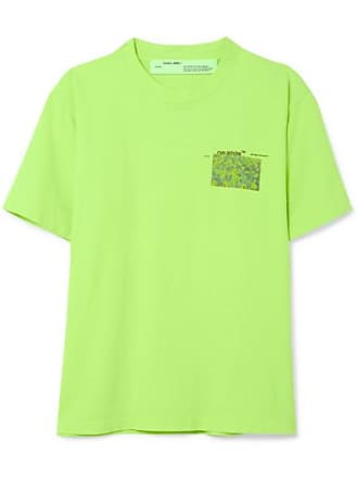 Off-white Neon Printed Cotton-jersey T-shirt - Green