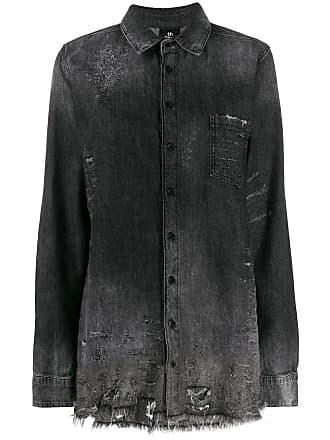 Thom Krom distressed oversized denim shirt - Grey