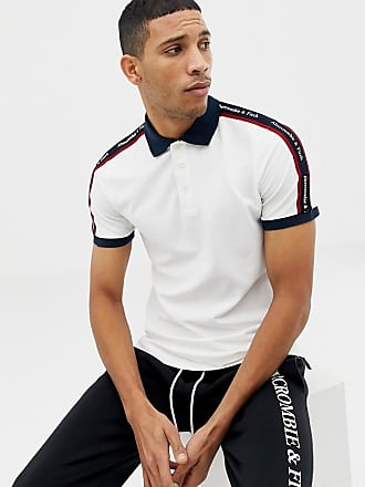 Abercrombie & Fitch taped logo contrast collar pique polo slim fit in white - White