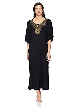Ellen Tracy Womens Long Caftan, Black, L/XL