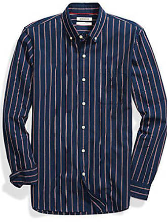 Goodthreads Mens Slim-Fit Long-Sleeve Pattern Chambray Shirt, Stripe, Medium
