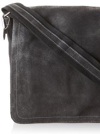 One Size Black Laptop Messenger Bag with 2 Zip Pockets David King /& Co