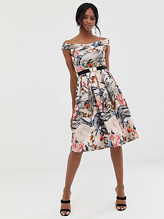8cbd426d27c6 Little Mistress off shoulder printed midi dress with belt detail