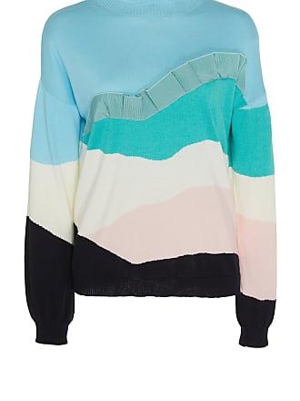 Delpozo Long-Sleeve Cotton-Cashmere Ruffle Sweater