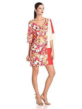 103720a1756 Donna Morgan Womens V-Neck Printed and Color Block Shift Dress