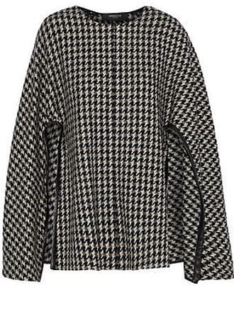 Derek Lam Derek Lam Woman Leather-trimmed Checked Wool-blend Tweed Cape Taupe Size XS/S