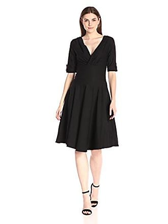 eda0ca489b37e Unique Vintage Womens 1950s Pin up Style Delores Swing Dress, Black X-Small
