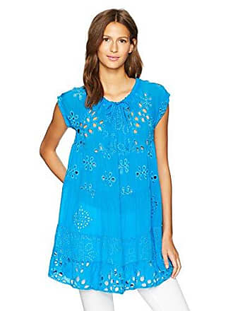 Johnny Was Womens Mixed Tunic, Cobalt, S