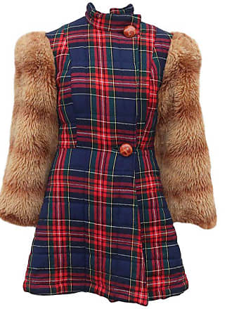 759a097fee1 Betsey Johnson Alley Cat Wool Plaid Coat With Faux Fur Sleeves