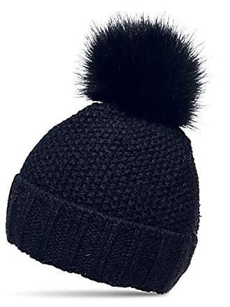 573669569fec1e CASPAR Fashion CASPAR MU173 Damen Winter Mütze Strickmütze Bommelmütze mit  großem Fellbommel, Farbe:dunkelblau