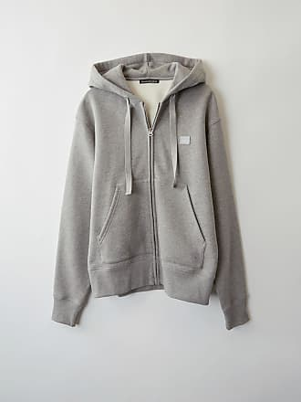 Acne Studios Ferris Zip Face Light Grey Melange Hooded sweatshirt