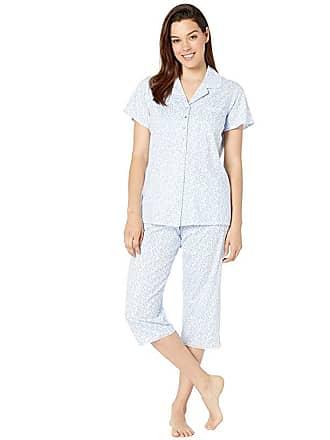94d7ab373e35 Eileen West Cotton Jersey Knit Short Sleeve Notch Collar Pajama Set (White  Ground Daisies)