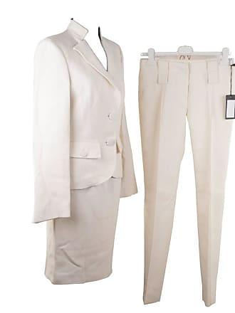 b4b33ff7c2a Versace Ivory Wool 3 Piece Set Blazer Skirt Trousers Suit Medusa