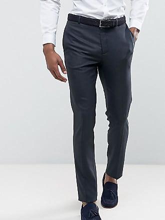 Asos ASOS TALL - Blå kostymbyxor till bröllop i micro-vävt tyg - Marinblå c0a484491085a