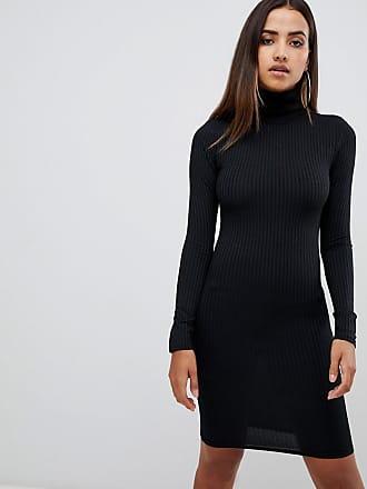 Prettylittlething Schlichtes, langärmliges Kleid, gerippt und mit  Rollkragen in Schwarz - Schwarz bd799fcdad