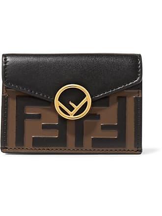 7a68bd605cc8 Fendi Embellished Embossed Leather Wallet - Black
