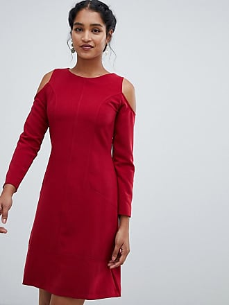 Closet cold shoulder a line dress - Red