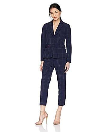 Tahari by ASL Womens Petite 2 Button Peak Lapel Windowpane Pant Suit, Navy/Ivory, 4P