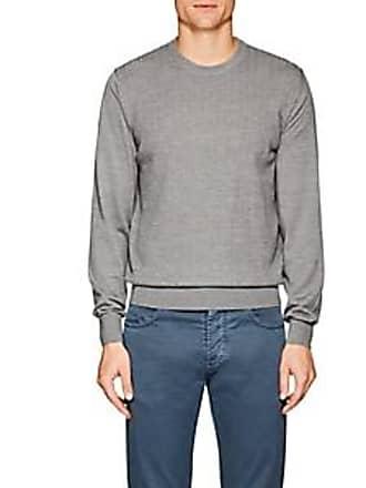 Luciano Barbera Mens Herringbone Wool Sweater - Gray Size S