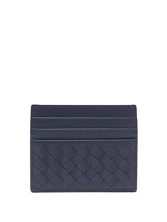 Bottega Veneta Intrecciato Leather Cardholder - Mens - Navy