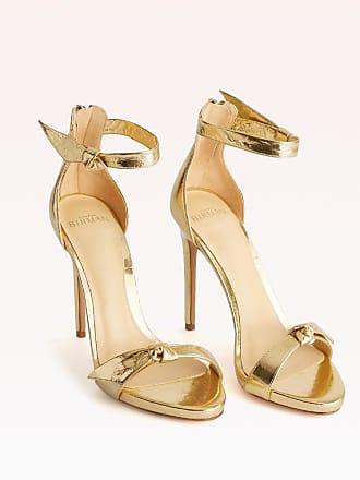 Alexandre Birman Asymmetric Clarita Sandal - 35.5 Golden Metallic Leather