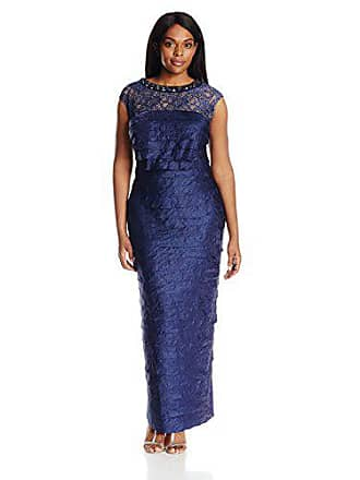c6c1c622 London Times Womens Petite Shimmer Shutter Gown with Lace Yoke, Navy 8P