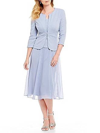 Alex Evenings Womens Tea Length Blazer Jacket Dress (Petite and Regular), Light Blue, 14P