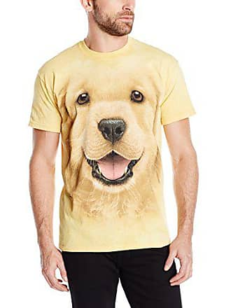 The Mountain Golden Retriever Puppy Adult T-Shirt, Yellow, Small