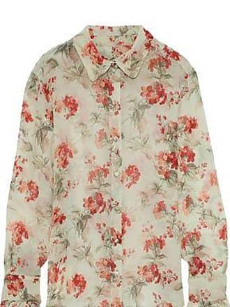 Philosophy di Lorenzo Serafini Philosophy Di Lorenzo Serafini Woman Ruffle-trimmed Floral-print Silk-georgette Shirt Light Green Size 42