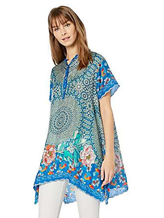 Johnny Was Womens Mandarin Collar Scarf Printed Blouse with Uneven Hem, Blue/Multi, M