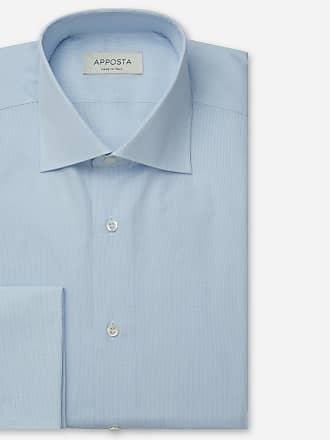 Apposta Camicia quadri piccoli azzurro 100% puro cotone tela, collo stile semifrancese, polso da gemelli